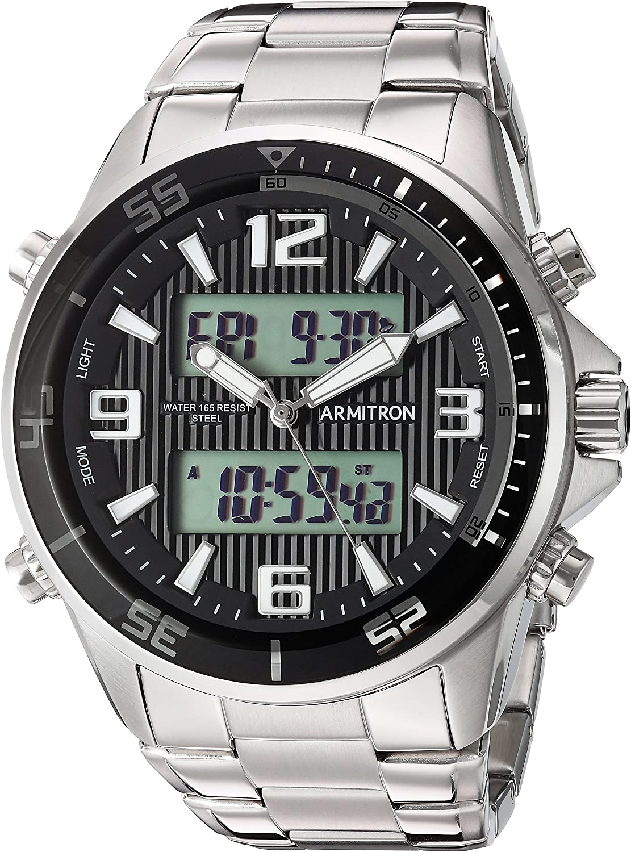 Armitron Men's 20/5182BKSV Analog-Digital Silver-Tone Bracelet Watch