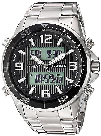 98f13db8f557 Image Unavailable. Image not available for. Color: Armitron Men's  20/5182BKSV Analog-Digital Silver-Tone Bracelet Watch