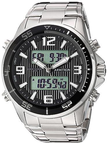 Armitron Men s 20 5182BKSV Analog-Digital Silver-Tone Bracelet Watch