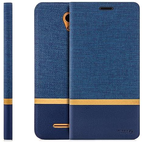 Zanasta Funda ZTE Blade A610 Plus Case Cubierta Carcasa Flip Cover Tapa Delantera con Billetera para Tarjetas Protectora, Cierre Abatible Azul