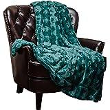 "Chanasya Super Soft Warm Elegant Cozy Fuzzy Fur Fluffy Faux Fur with Sherpa Wave Shape Embossed Plush Evergreen Teal Microfiber Throw Blanket (50"" x 65"")- Solid Evergreen Teal"