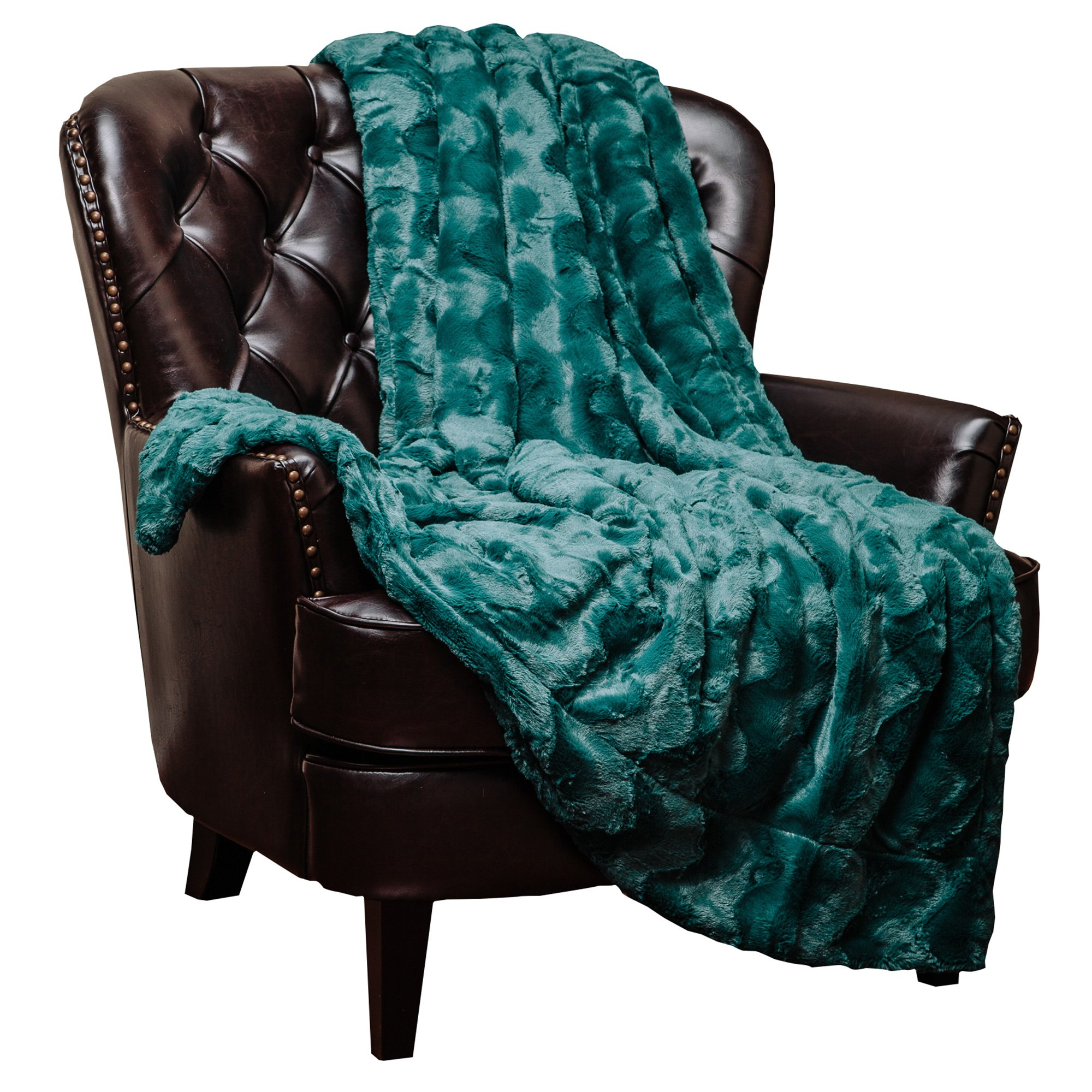 Chanasya Fur Throw Blanket for Bed Couch Chair Daybed - Soft Wave Embossed Pattern - Warm Elegant Cozy Fuzzy Fluffy Faux Fur Plush Suitable for Fall Winter Summer Spring (50'' x 65'') - Teal Blanket