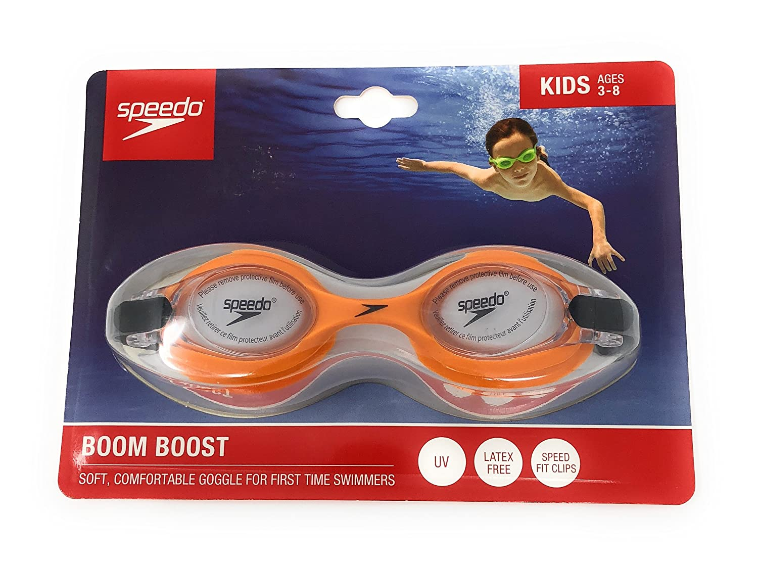 First-Time Swimmers Ages 3-8 Speedo KIDS Swim Goggles Orange