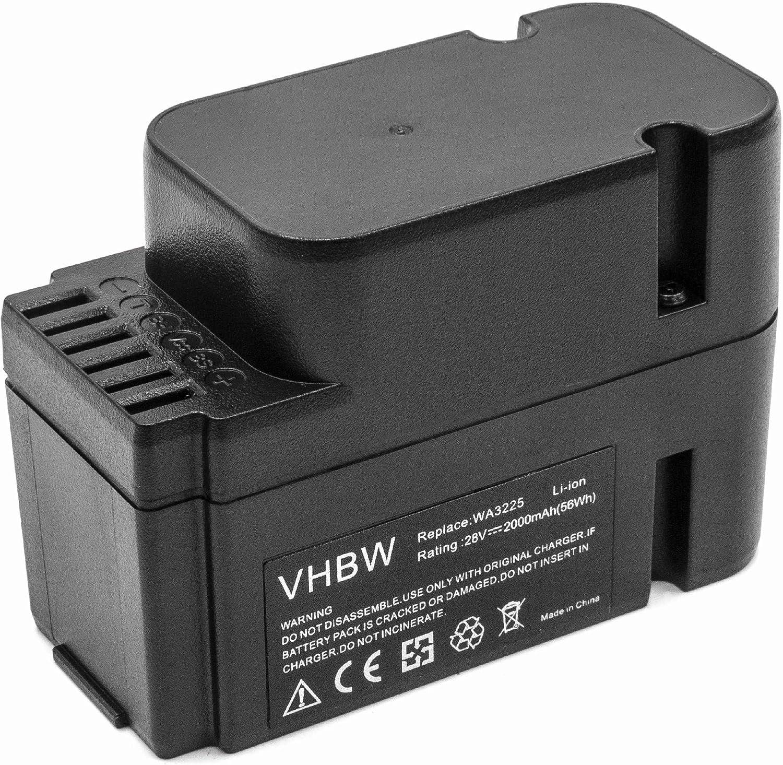 vhbw Batería Compatible con Worx Landroid M1000 WG791E.1, M1000i WG796E.1, M500 WG754E. Robot cortacésped (Li-Ion, 2000mAh, 28V)