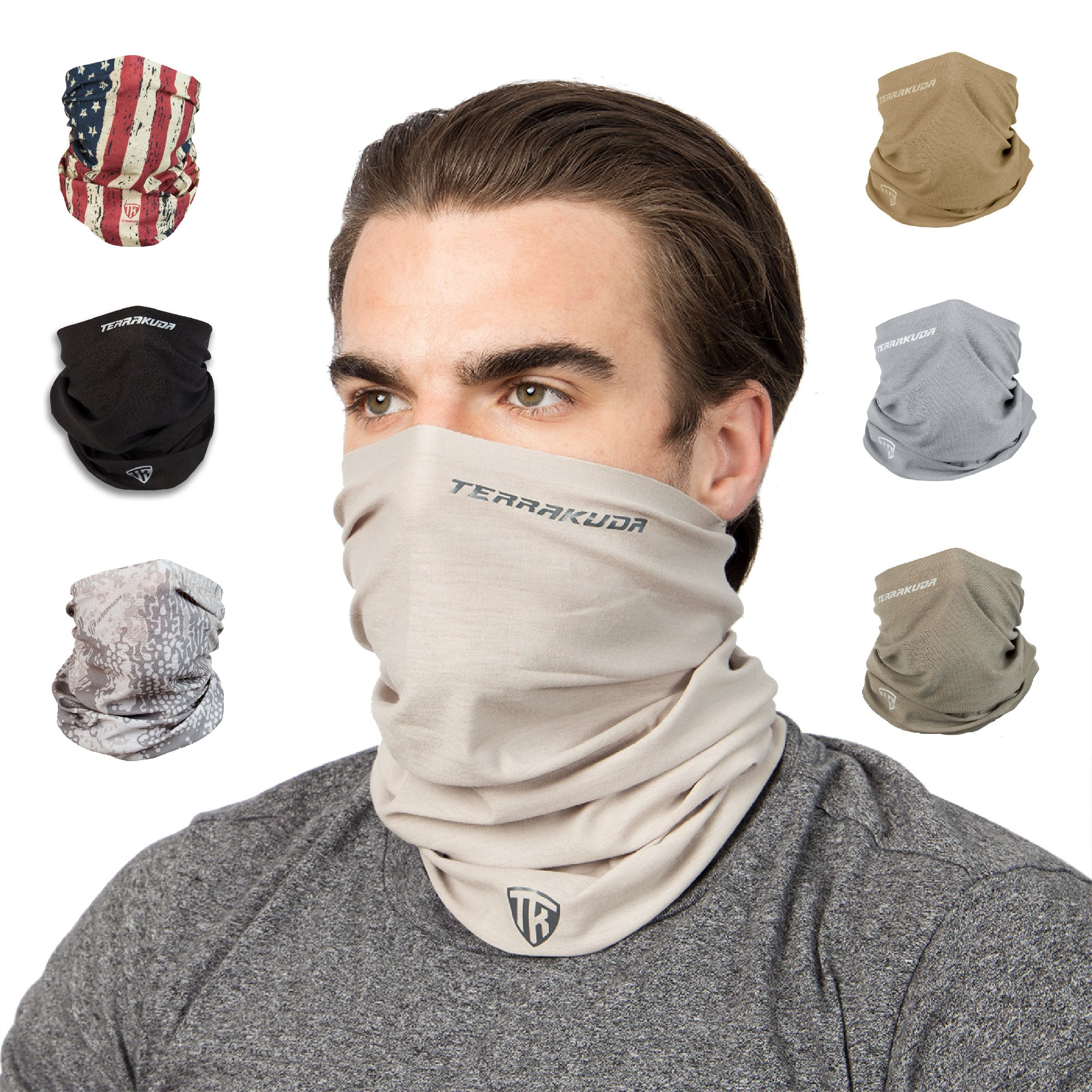 Terra Kuda Face Clothing Neck Gaiter Mask - Non Slip Light Breathable for Sun Wind Dust Bandana Balaclava (Desert Sand) by Terra Kuda