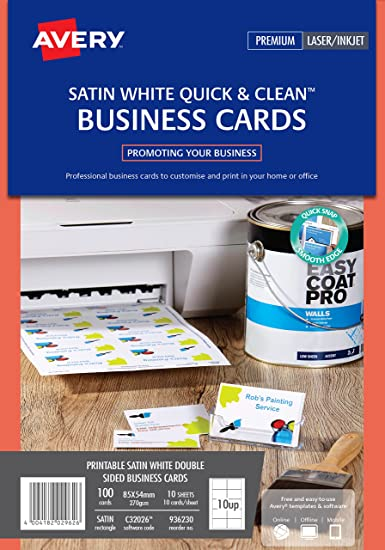 Avery c32026 10 double side printable business cards with satin avery c32026 10 double side printable business cards with satin finish 270 gsm for laser printers 85 x 54mm cards 10 cards per a4 sheet 10 sheets per reheart Choice Image