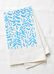 Modern Tea Towel, Organic Cotton, Unbleached, Brushstroke Design in Sky Blue, Handmade in Maine