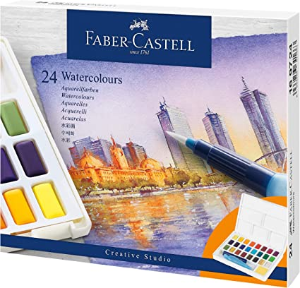 Portable Watercolor Pencils Water Pen Brushes Set 24 Color Palette Metal Box