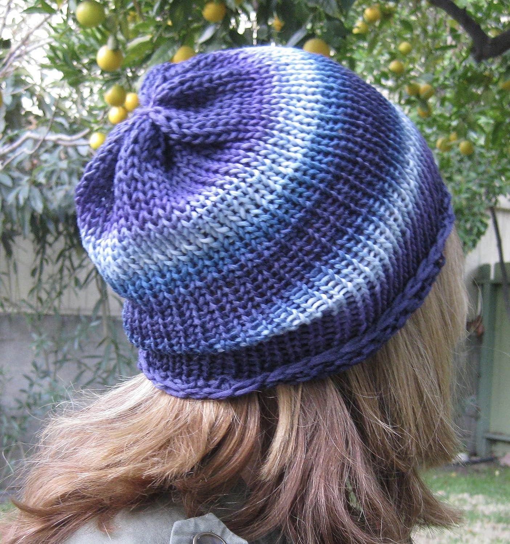 Unisex Merino Wool Lightweight Purple Blue Slouchy Beanie