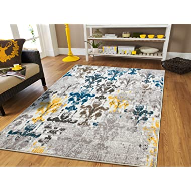 Faded Style Luxury Rugs Bedroom Teens Modern Rugs 5x7 Contemporary Rug 5x8 Kitchen Rugs Blue Grey Brown Yellow 5x7 Rugs Living Room Under 50, 5x8 Rug