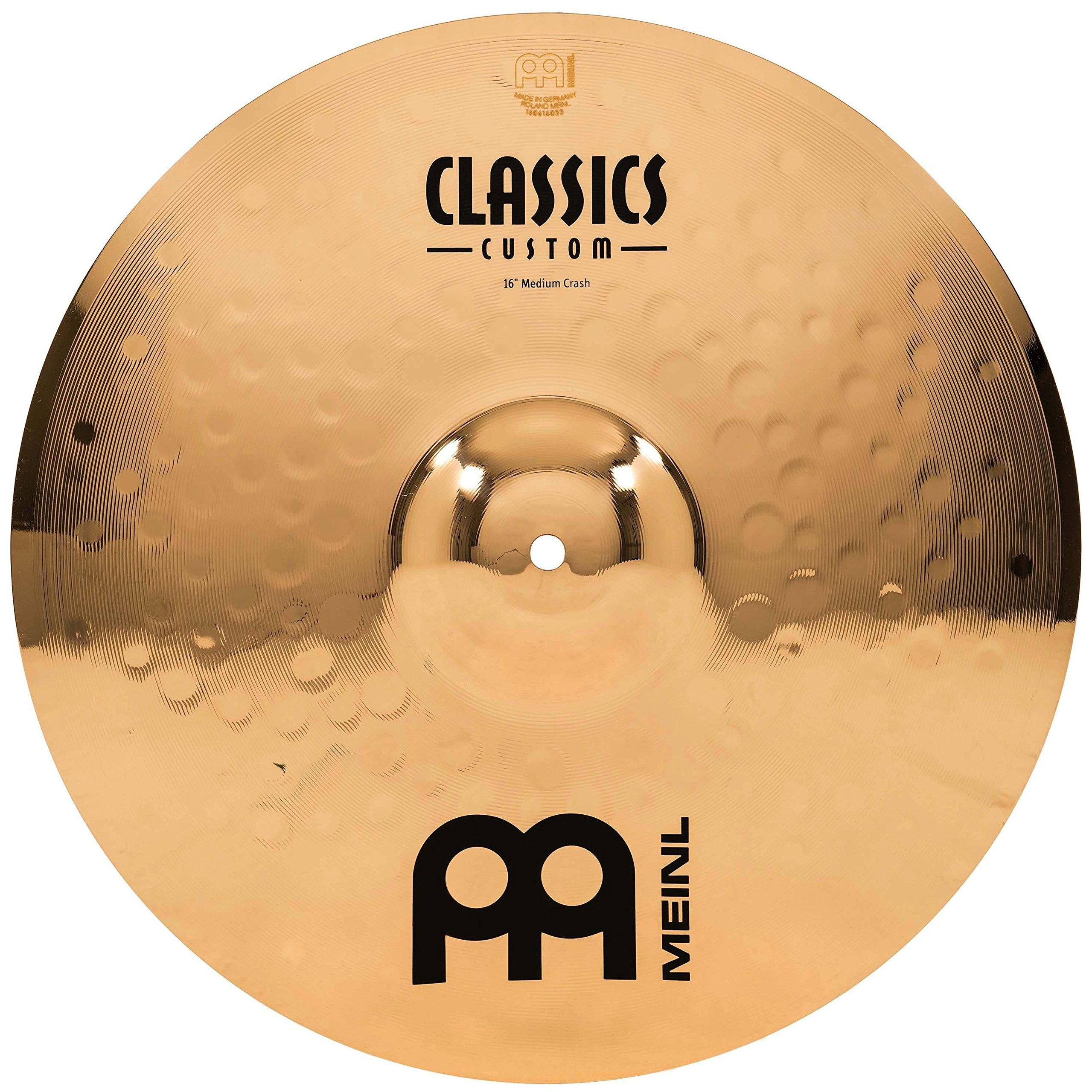 Meinl 16'' Medium Crash Cymbal  -  Classics Custom Brilliant - Made in Germany, 2-YEAR WARRANTY (CC16MC-B) by Meinl Cymbals