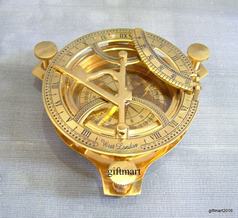 4' Brass Sundail Compass Antique Vintage Style Nautical Maritime Hiking shaheera.nautical