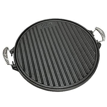 GRILL & MORE Essentials 2 en 1 Placa bandeja de hierro fundido para barbacoas diámetro 43