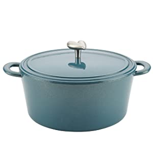 Ayesha Curry Cast Iron Enamel Covered Dutch Oven, 6-Quart, Twilight Teal
