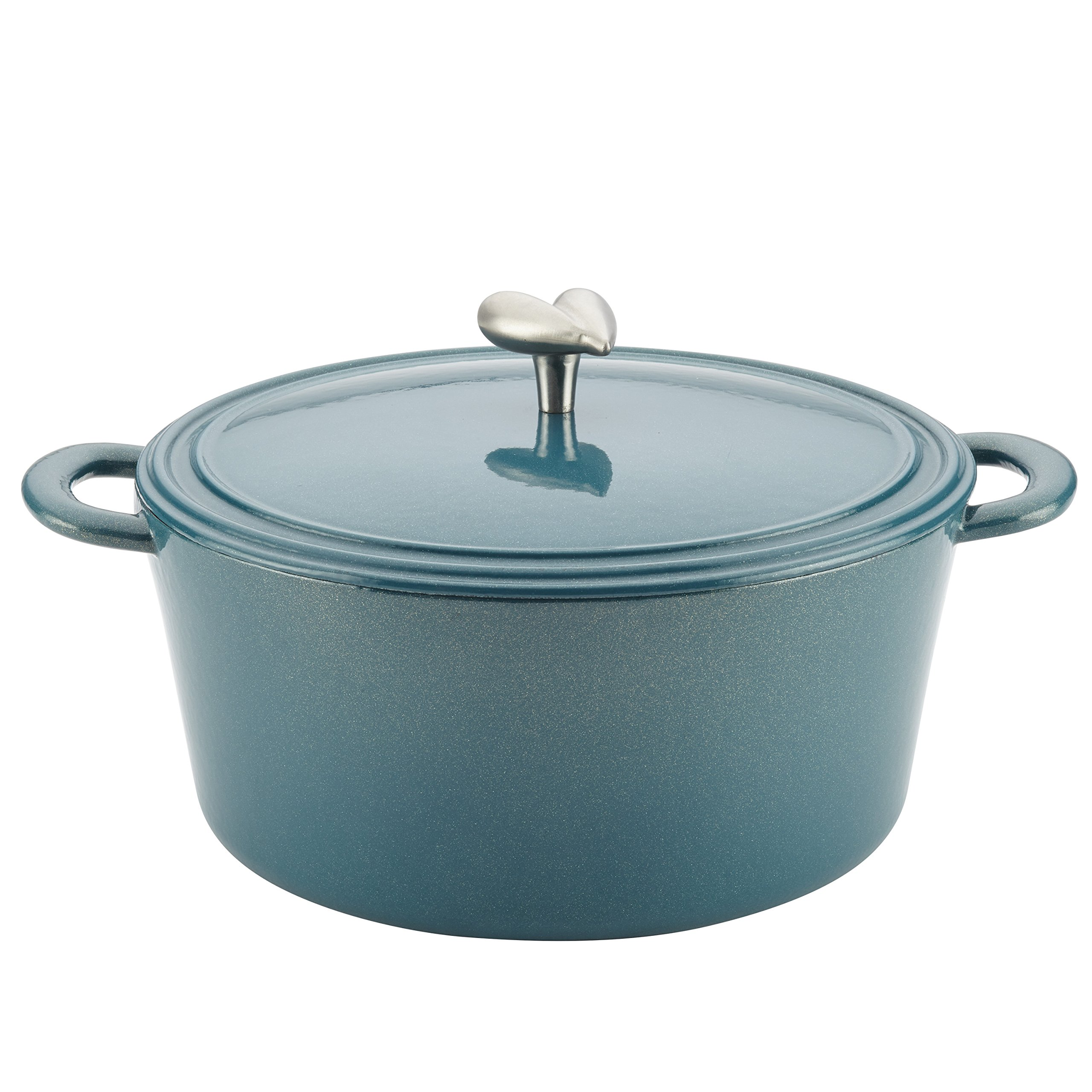 Ayesha Collection Cast Iron Enamel Covered Dutch Oven, 6-Quart, Twilight Teal