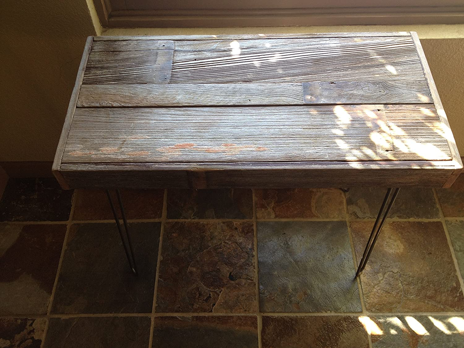 Rustic yet modern. Beautiful reclaimed barn wood side table 32x20x24 H featuring hairpin legs