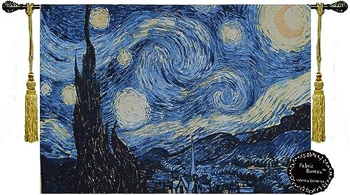 Fabric Bureau Beautiful Starry Night by Vincent Van Gogh Fine Tapestry Jacquard Woven Wall Hanging Art Decor