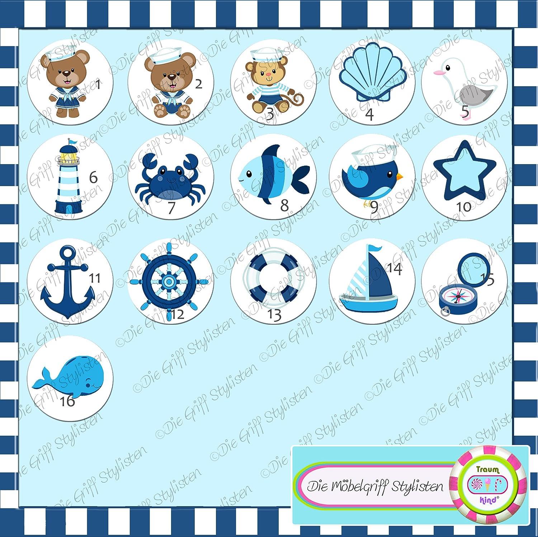 T/ürknauf M/öbelknopf M/öbelgriff M/öbelknauf Jungen hellblau dunkelblau blau Massivholz Buche dunkelblau Kinder Kinderzimmer Vogel Matrose blau hellblau maritim