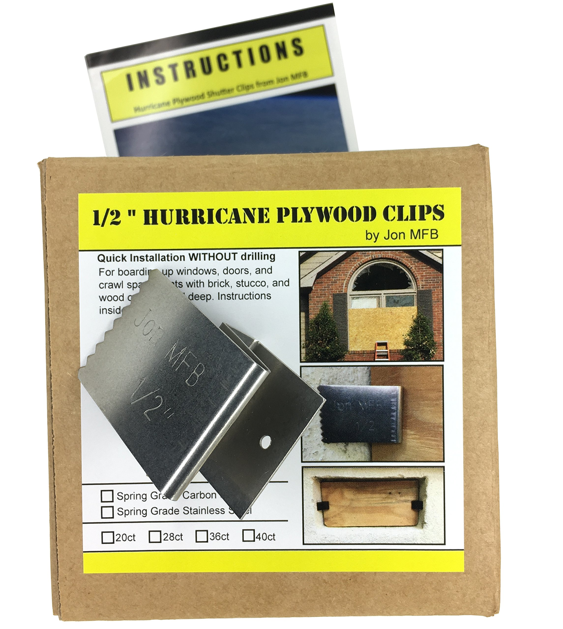"""1/2"""" Hurricane Plywood Clips to Shutter Windows, Spring Grade Stainless Steel - 20 pack"""
