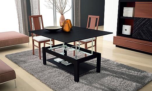 Mesa centro elevable negra convertible en mesa de comedor: Amazon ...