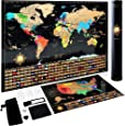 Scratch Off World Map Poster + Deluxe United States Map –Includes Complete Accessories Set & All Country Flags – Premium Wall Art Travelers