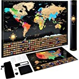 Scratch Off World Map Poster + Deluxe United States Map –Includes Complete Accessories Set & All Country Flags – Premium…