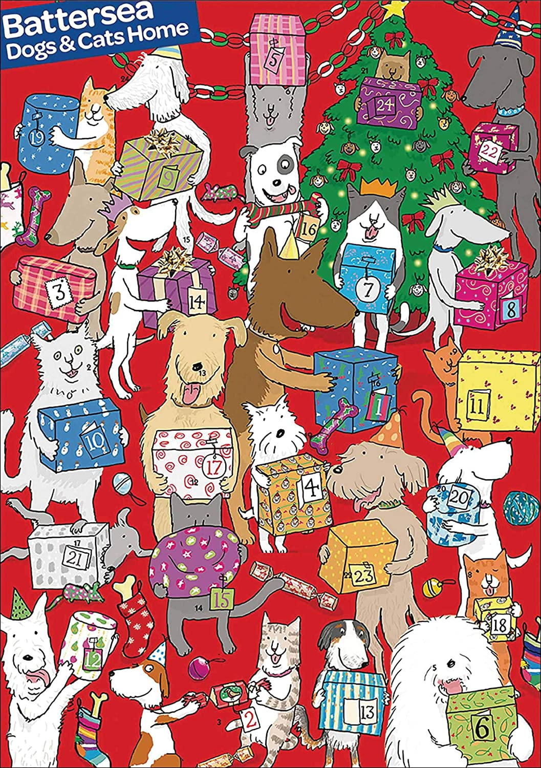 Large Christmas Advent Calendar - (WDM422621) - Pet Presents - From The Caltime Range - Glitter Varnish Woodmansterne