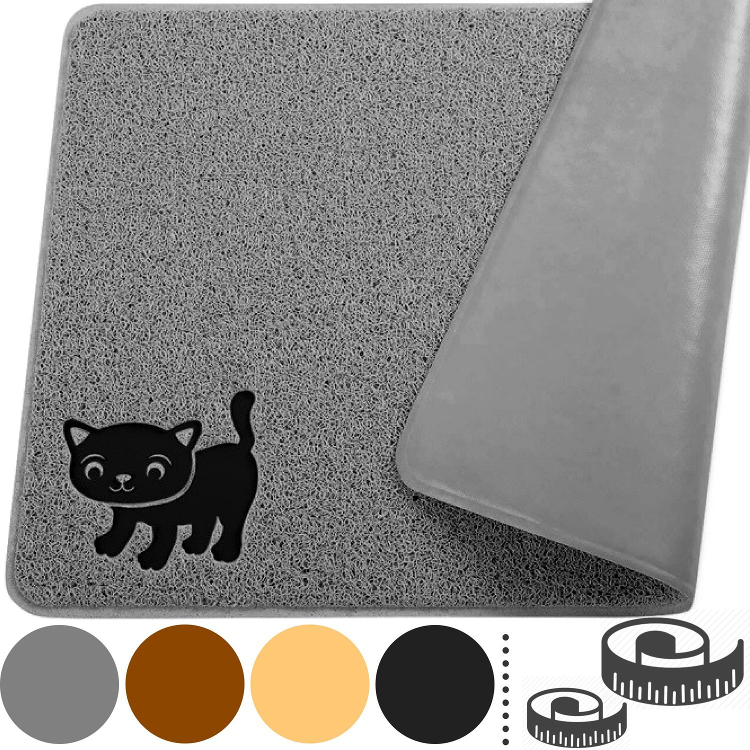 """Smiling Paws Pets Premium Cat Litter Mat, BPA Free, XL Size 35'' x23.5"""", Non-Slip - Tear & Scratch Proof, Easy to Clean Kitty Litter Catcher Scatter Control (Extra Large Gray)"""