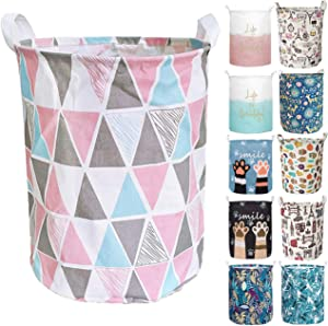 Aouker Merdes 19.7'' Waterproof Foldable Laundry Hamper, Dirty Clothes Laundry Basket, Linen Bin Storage Organizer for Toy Collection (Triangle)