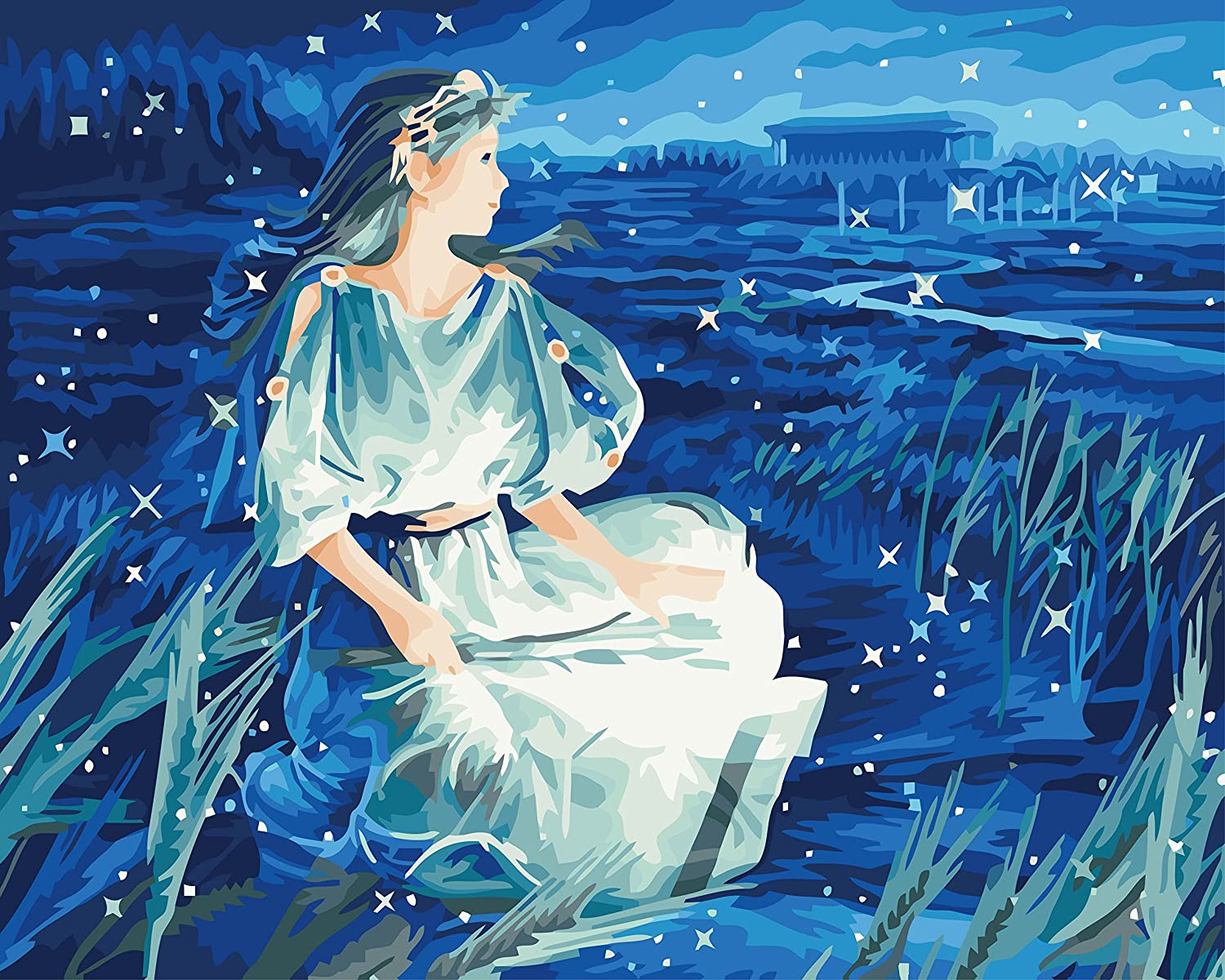 Fuumuui DIY Pre-Printed Canvas Oil Painting Gift for Adults Kids Paint by Number Kits Home Decorations-Virgo 16*20 inch