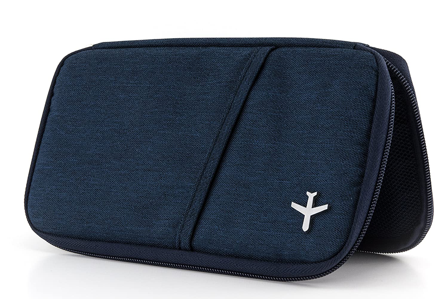 TROIKA-original orange dark blue TROIKA SAFE FLIGHT for RFID chips TRV20//DB polyester zipper Case for travel documents with fraud prevention 12 interior compartments