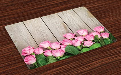 Lovely Lunarable Rose Place Mats Set Of 4, Valentines Day Background With Pink  Roses Over Wooden