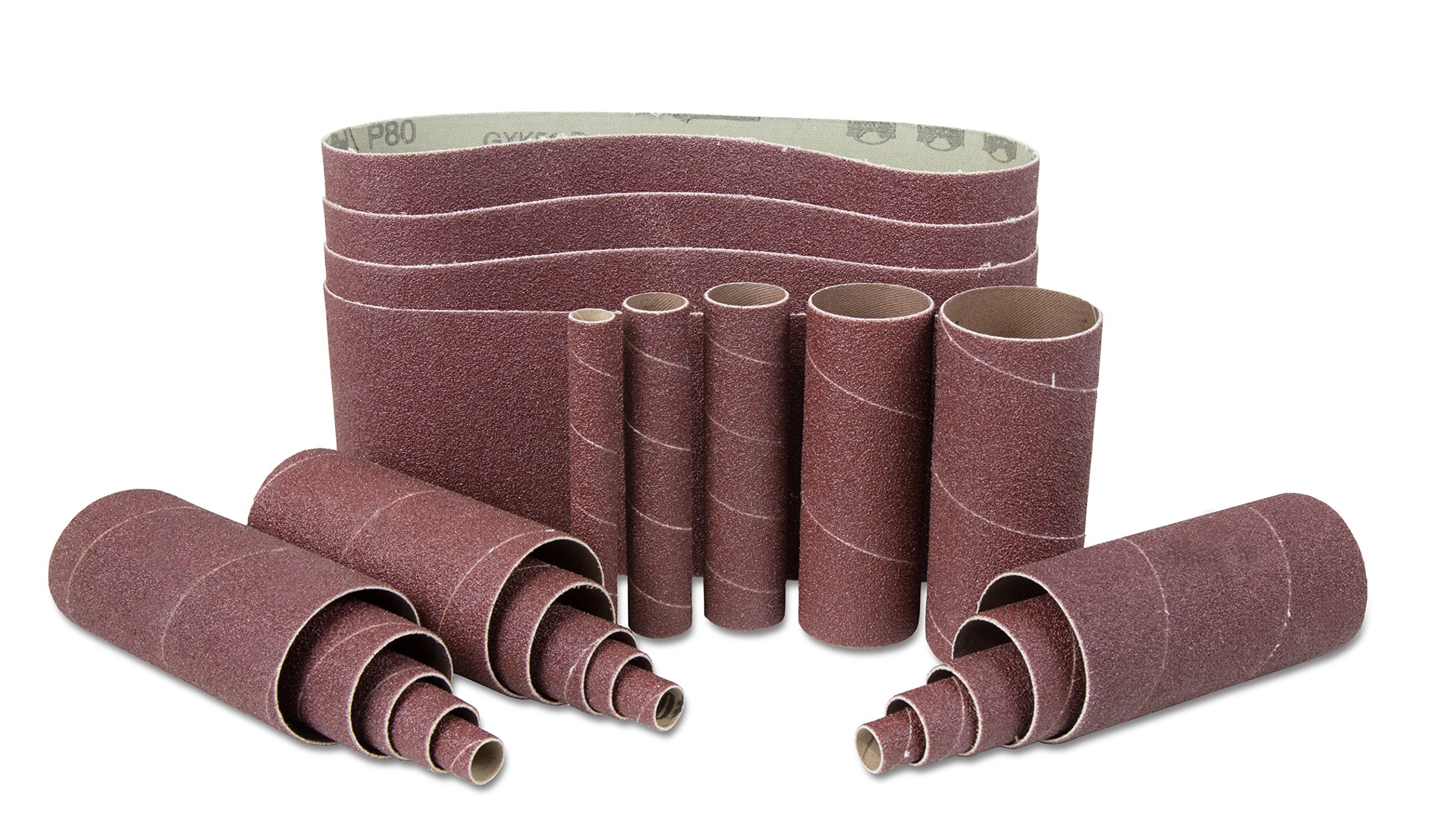 WEN 6523SP120 120-Grit Combination Belt & Sleeve Sandpaper Set, 24 Pack