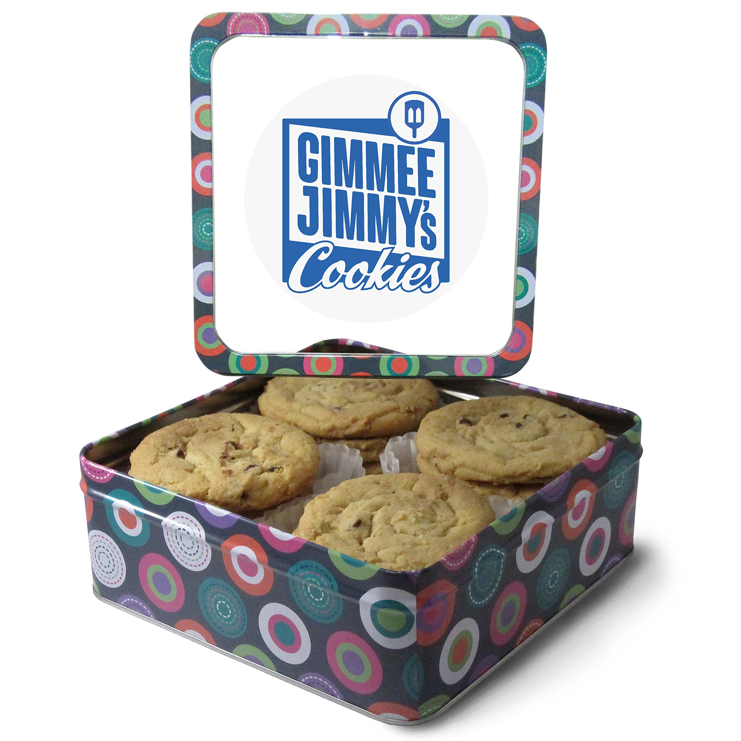 Fresh Baked Chocolate Chip Cookie Tins, Comes in Multiple Sizes | Gimmee Jimmy's Authentic Cookies (1 Pound) by Gimmee Jimmy's Cookies (Image #1)