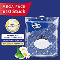 Tempo Feuchte Toilettentücher sanft & sensitiv, parfüm: Kamille und Aloe Vera, Feuchttücher im wiederverschließbaren Komfortbeutel, 10 x 40 Tücher (400 Tücher)