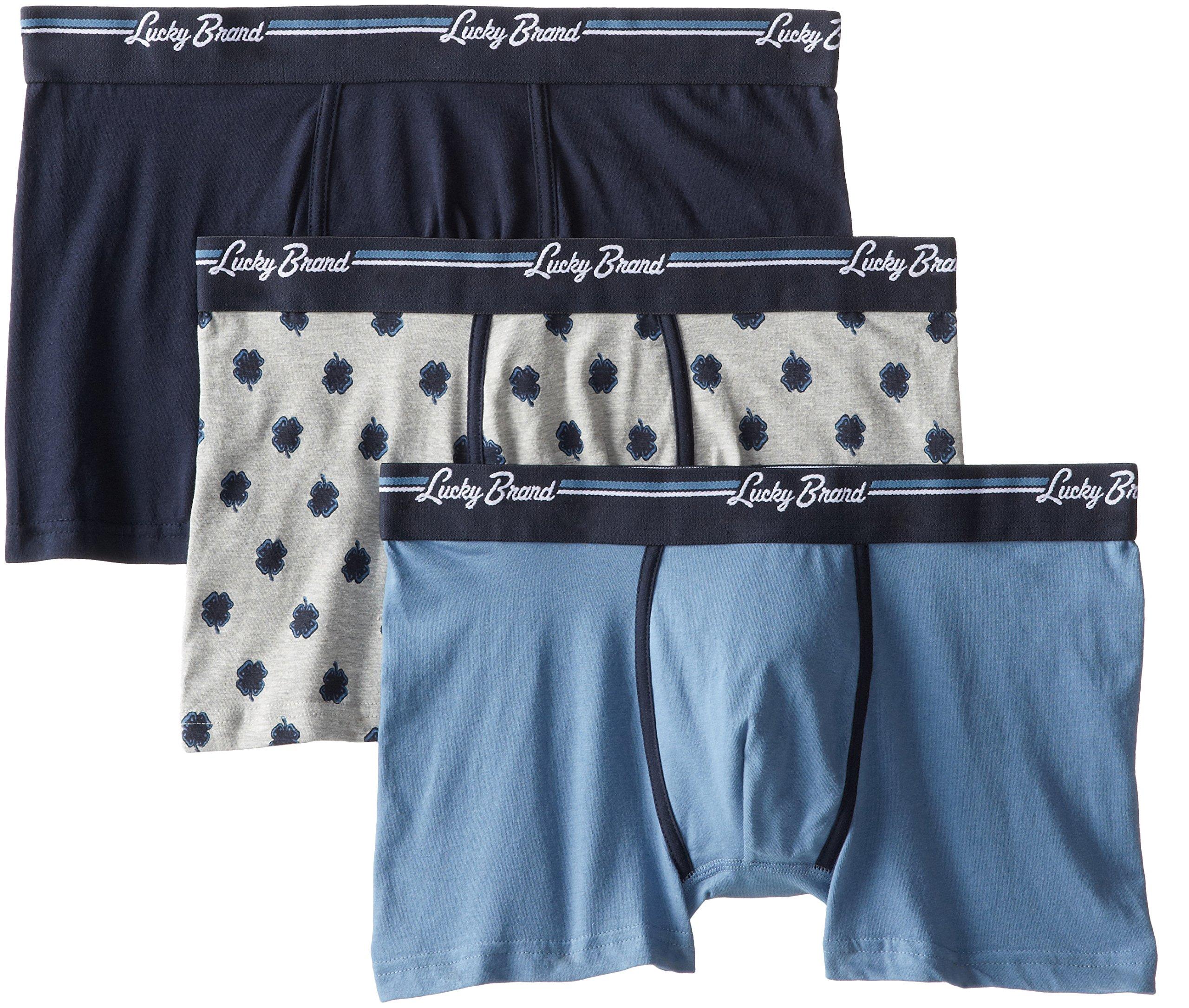 Lucky Brand Men's 3-Pack Assorted Stretch Trunks, Dark Sapphire/Heather Grey/Copen Blue, X-Large