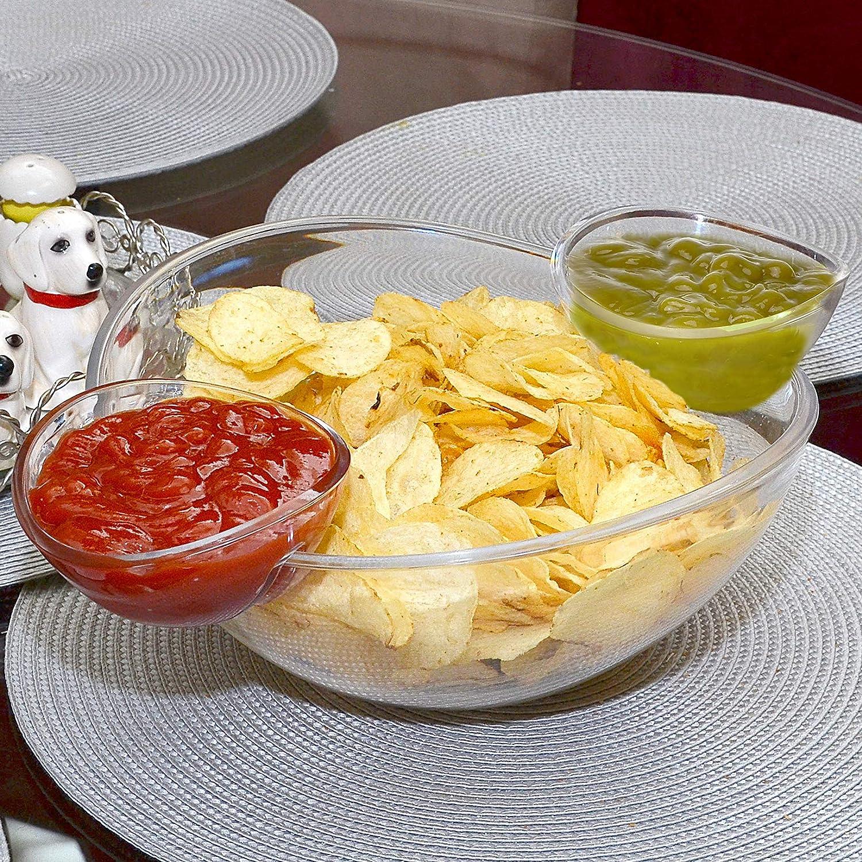 ideal f/ür Salat Chips and Dips Sch/üsseln 3-teiliges Set gro/ßz/ügig dimensionierte Sch/üssel und 2 abnehmbare Becher f/ür Dips Salsa und andere Snacks Dips Chips