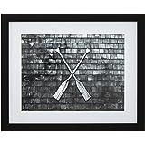"Black and White Crossed Oars Photo, Black Frame, 18"" x 22"""