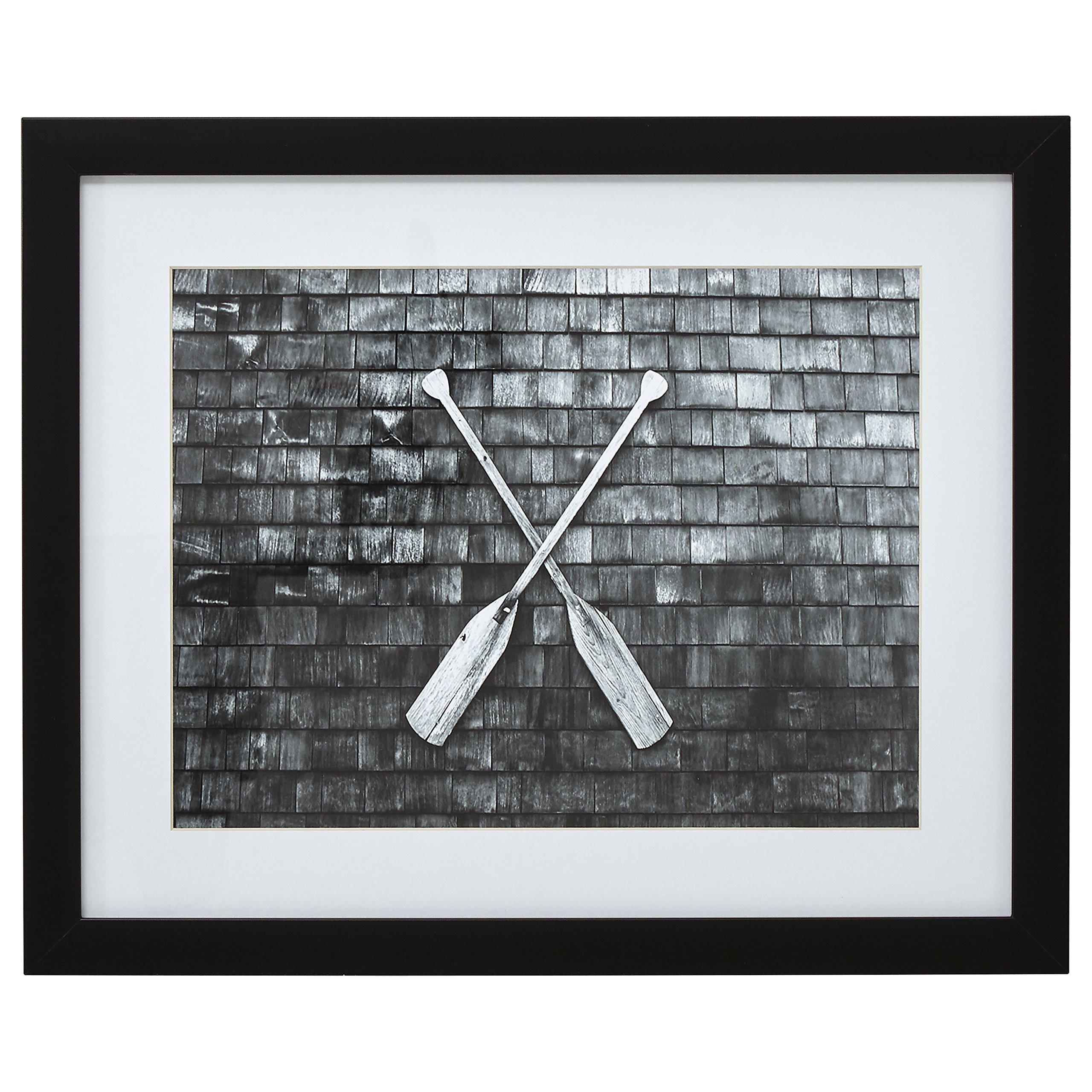 Stone & Beam Black and White Crossed Oars Photo, Black Frame, 13'' x 15'' by Stone & Beam