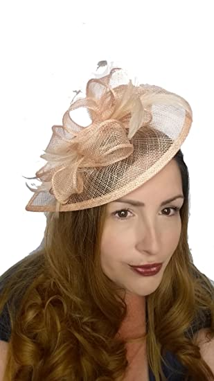 905212f6d0177 Nude Pink Sinamay   Feather Teardrop Hat Fascinator - Occasion Wedding  Races  Amazon.co.uk  Clothing