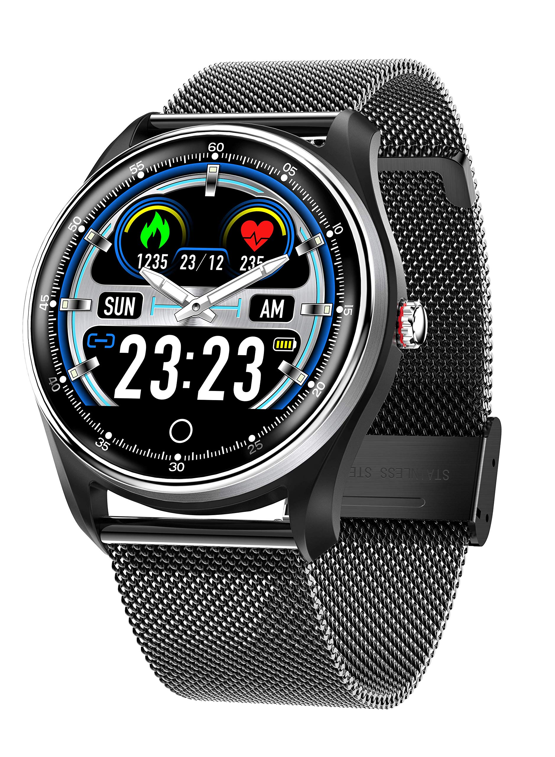 Byoung Sport Smart Watch for Men, Sleep Monitor Fitness Tracker IP68 Waterproof Smartwatch with ECG+PPG Heart Rate Blood Pressure 12 Sports Modes Pedometer, Calorie, Clock Alarm, Call SMS Reminder