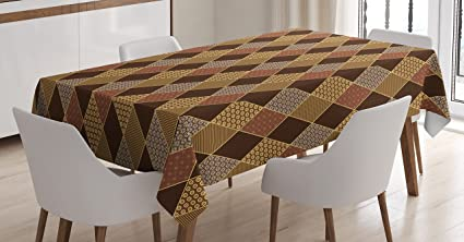 Superbe Brown Tablecloth By Ambesonne, Lozenge Pattern In Patchwork Style Classical  Old Fashioned Floral, Dining