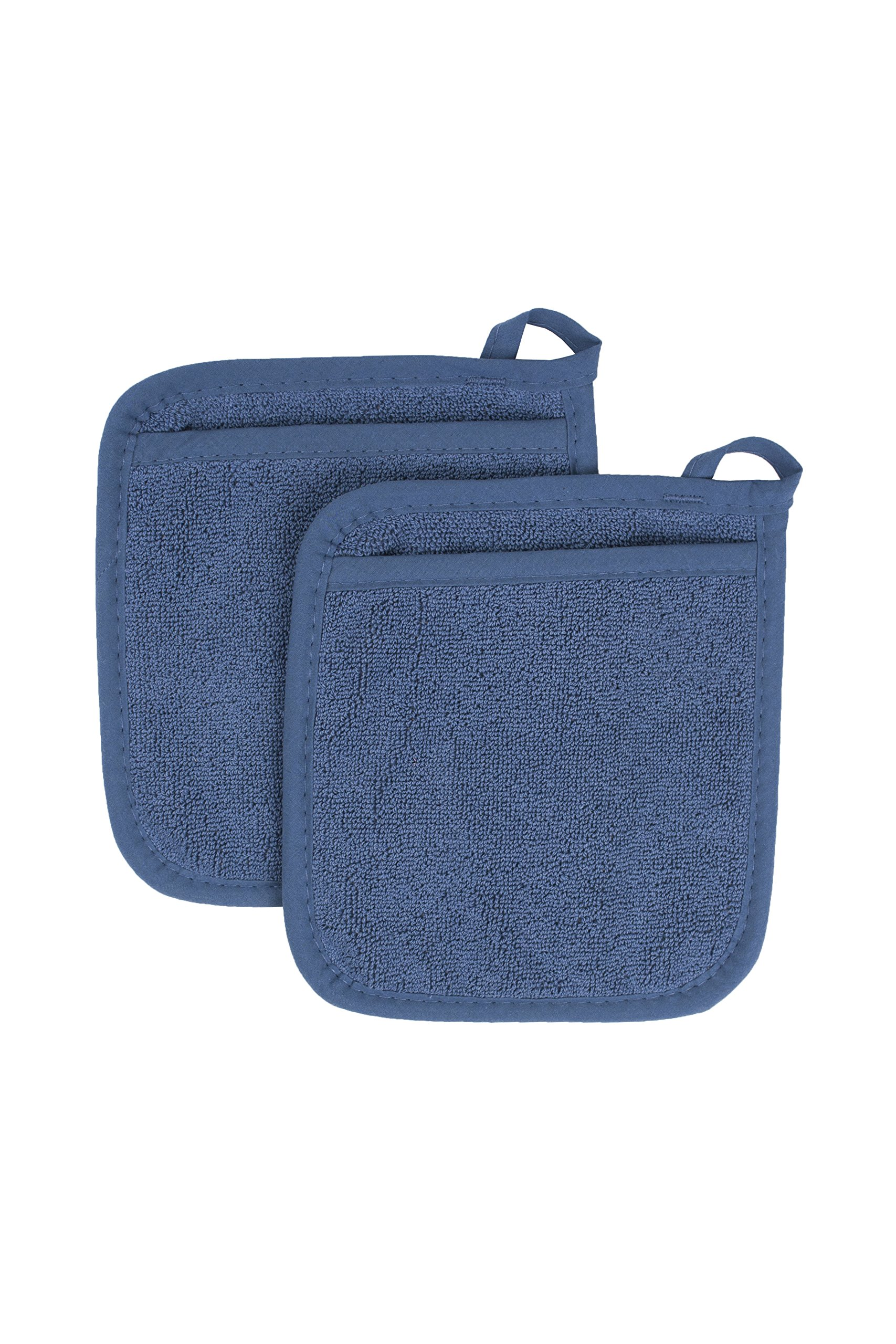 Ritz Royale Collection 100% Cotton Terry Cloth Pocket Mitt Set, Dual-Function Hot Pad / Pot Holder, 2-Piece, Federal Blue