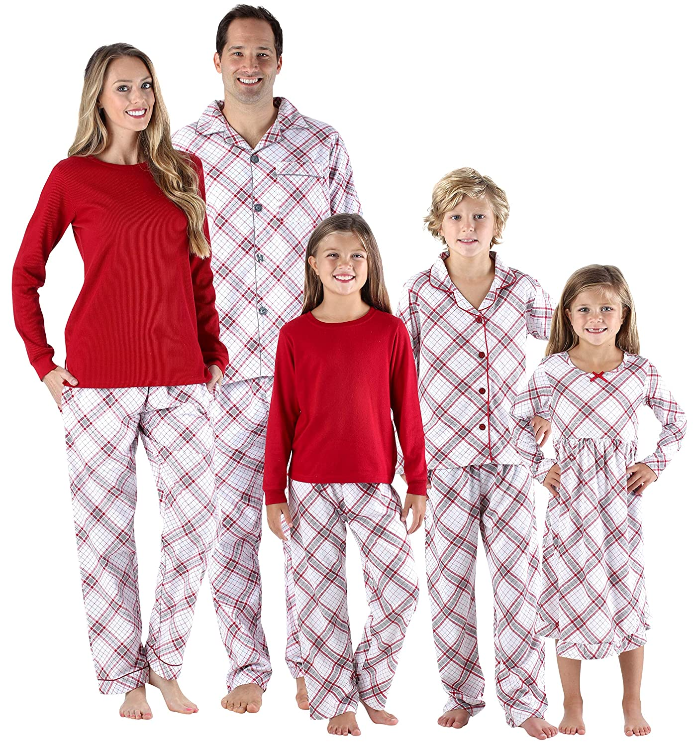 SleepytimePjs Christmas Family Matching Grey and Red Plaid Flannel PJs Sets  for The Family at Amazon Men s Clothing store  de1a046e0