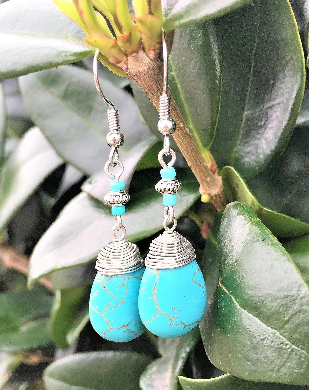 Heady Jewelry Trippy Hippie Style Boho Fashion Handmade \u201cOrange /& Blue\u201d Resin Wire Wrapped Necklace
