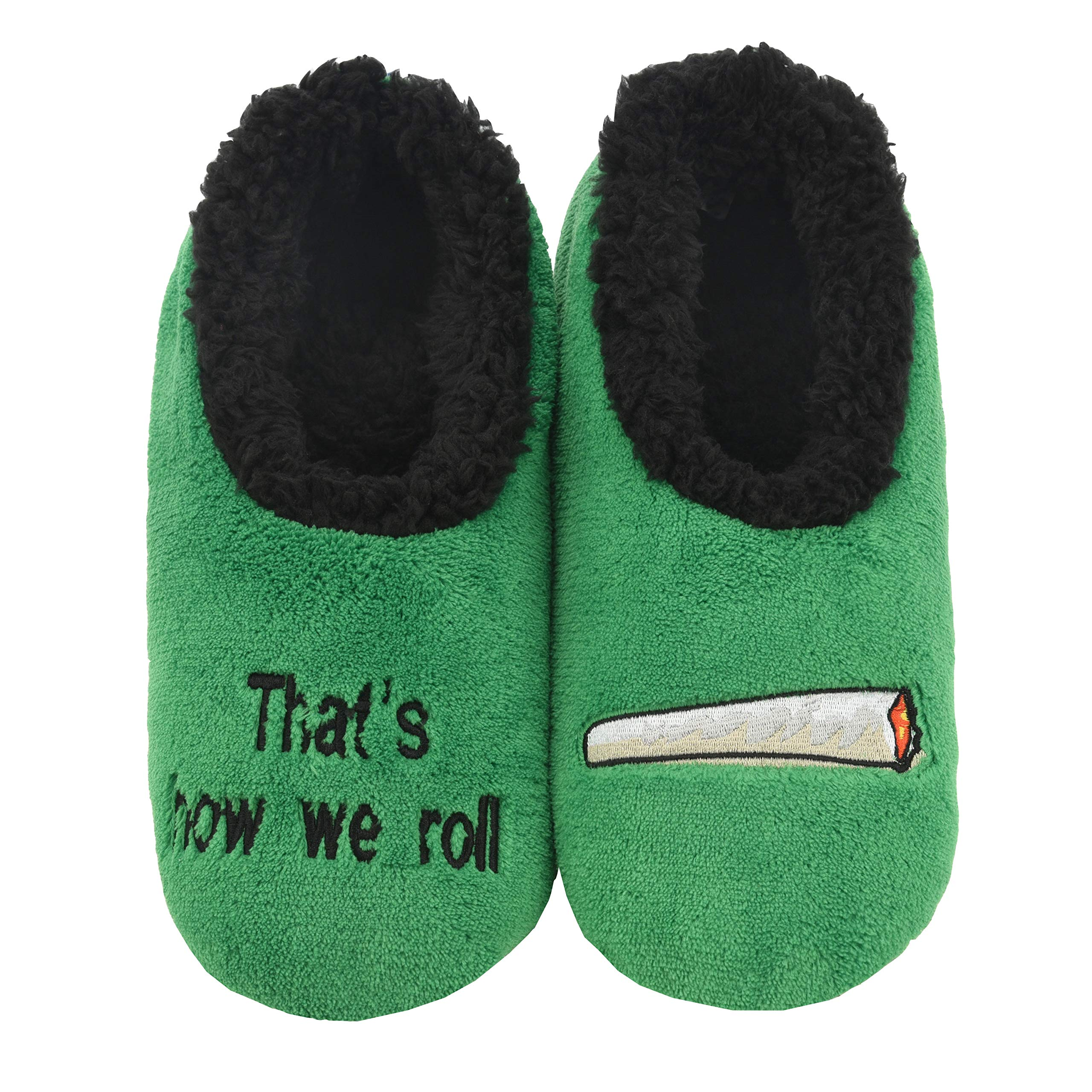 Snoozies 420 Mens Slippers | Slippers for Men | That's How We Roll | Large