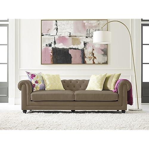 Elle Decor Amery Tufted Sofa, Velvet, Taupe