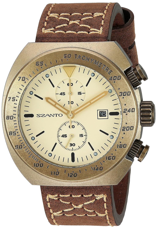Szanto 4100 Sz Analog Brown Japanese 4102 Display Men's Series Watch Quartz LAjR354