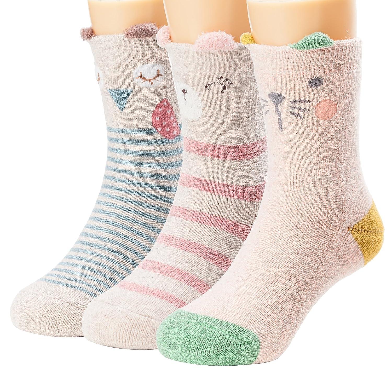 Ryi girls boys toddler socks cute animal cozy fuzzy cotton kids ...