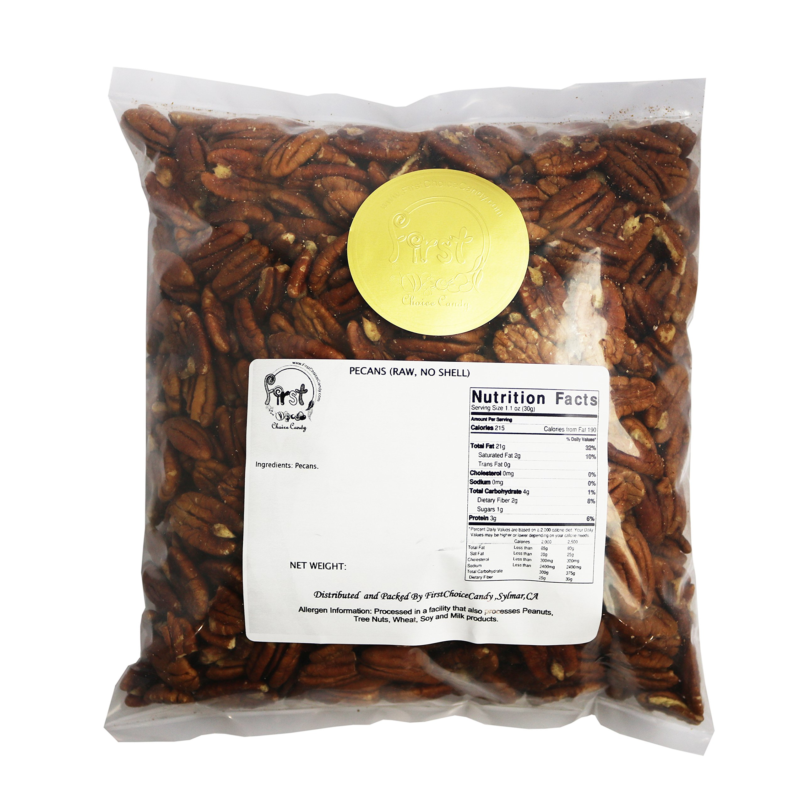 Raw Pecans -No Shell- 5 Pound Bulk Bag by FirstChoiceCandy